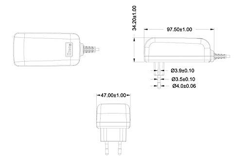 Ktec 1x Universal AC DC Netzteil 12V 3A (3000mA Steckernetzteil) Adapter - Stromadapter und Stromkabel für externe Festplatten-Gehäuse, Dockingstation uvm., 150cm