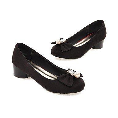 LFNLYX Talons Femme Printemps Eté Automne Hiver Confort Mouchoir Bureau & Carrière Robe Casual Chunky Heel Bow Nœud Imitation Pearl Gray
