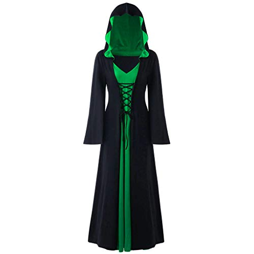 Cool Kostüm Food - INLLADDY Kleid Damen Gothic Kapuzenkleid Retro Umhang Robe Halloween Karneval Party Cosplay KostüM Deko Grün XXL