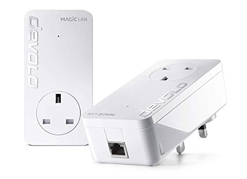 Price comparison product image devolo Magic 2 LAN: High-performance Powerline Starter Kit with 2400 Mbps for your home network via dLAN,  one Gigabit LAN port for magical internet from the wall socket,  with integrated power socket,  white