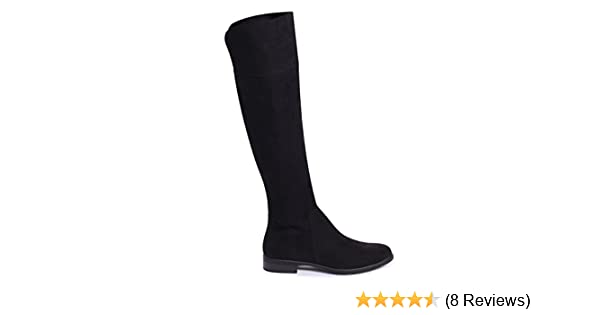 70a0b998464 Linzi Suzanne - Black Suede Flat Knee High Boot  Amazon.co.uk  Shoes   Bags