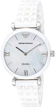 Emporio Armani Women's Quartz Watch With Black Dial Analogue Display Quartz Ceramic Ar1485, White
