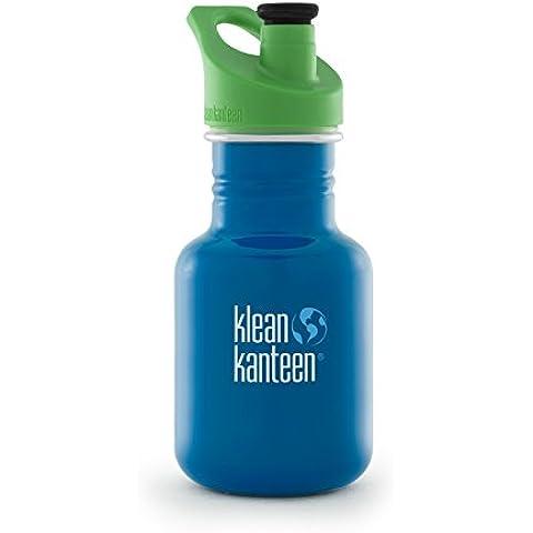 Klean Kanteen - Botella de Acero Inoxidable para niños con tapa antigoteo, Edelstahl Kinderflasche mit Sport Cap 355 ml Kid Sport, azul, 355