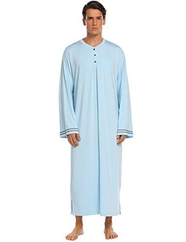 MAXMODA Pigiami Uomo Abbigliamento da Notte Uomo Camicia da Notte Maniche Lunghe Inverno Blu M
