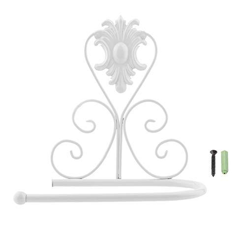 Jasnyfall Vintage Design Klassische Eisen Papier Handtuch Rollenhalter Wandhalterung Rack Aufhänger weiß (Papier-handtuch-aufhänger)