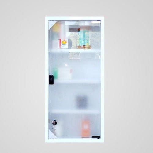 """Edelstahl Medizinschrank Arzneischrank 4 Fächer, 60ⅹ30ⅹ12cm, Erste Hilfe Schrank Medikamentenschrank""""Tip-on"""" Glastür mit Schloss inkl 2 Schlüssel (Weiß)"""