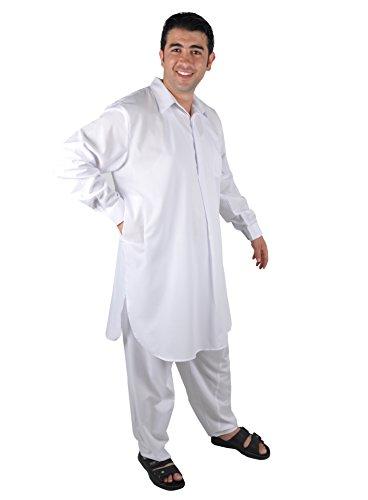 Egypt Bazar Zweiteiliges Herren-Salwar-Kameez- Set im Pakistani-Stil, Farbe: weiß (66 (4XL)) Salwar Hose