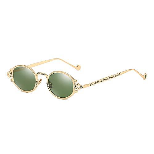 Sonnenbrillen für Frauen-Street New Brillen Retro Steampunk Sonnenbrillen Gothic Oval Frame Carved Sonnenbrillen Gold Frame dunkelgrüne Linse