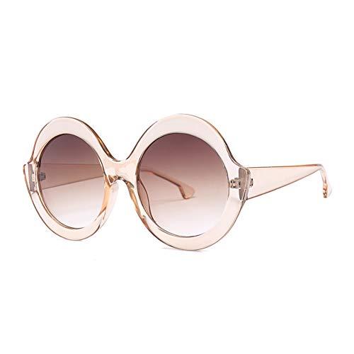 JJHR Sonnenbrillen Weibliche Crossover-Sonnenbrillen Der Runden Großen Rahmenglitter-Sonnenbrille Arbeiten Straßenschlagsonnenbrille Um