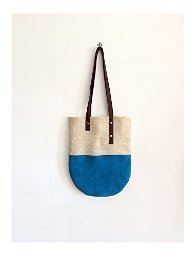 Tote bag in suede and jute for work or for holidays, handmade handbags limited edition BBagdesign. - handmade-bags