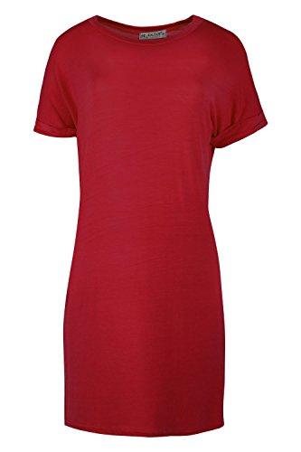 Femmes Uni Élastique Manche Revers Baggy Coupe Large Surdimensionné T-shirt Top Robe Grande Taille Bordeaux