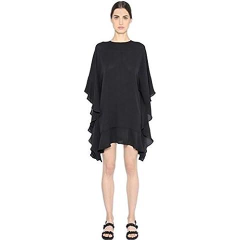 Ladies' nero pipistrello maniche in chiffon asimmetrico balze dress size facile . black . xl