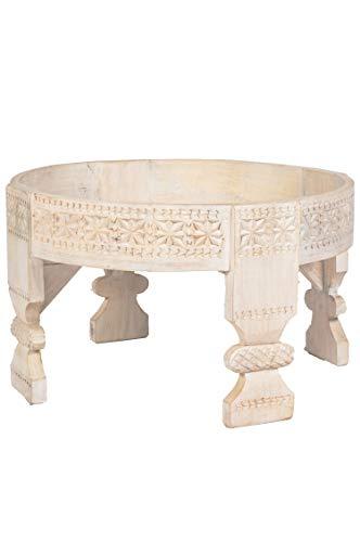 Marokkanischer Vintage Beistelltisch Hocker aus Holz Idris Weiss ø 60cm rund   Orientalischer runder Tisch Blumenhocker klein für Wohnzimmer oder Küche   Orientalische Beistelltische als Dekoration (Kinder-kunst-tisch Mit Ablage)