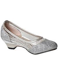 los patrones de color de plata pequeña niña zapatos de tacón de la bod