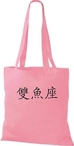 ShirtInStyle Chinesische Baumwolltasche Fische Beutel classic Farbe diverse Schriftzeichen pink Stoffbeutel r5wHBngqr