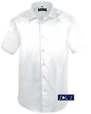 Chemise manches courtes stretch pour homme de la marque française sols style Body de Fit (Coupe ajustée) dans les couleurs noir ou blanc et les tailles S, M, L, XL et XXL blanc