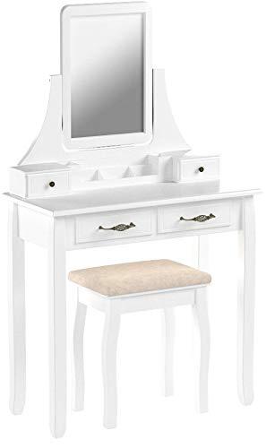 SONGMICS RDT012WT - Coiffeuse con Specchio e Sgabello, con 2 cassetti Grandi e binari, in Legno, 80 x 137,5 x 40 cm (L x A x P), Colore: Bianco