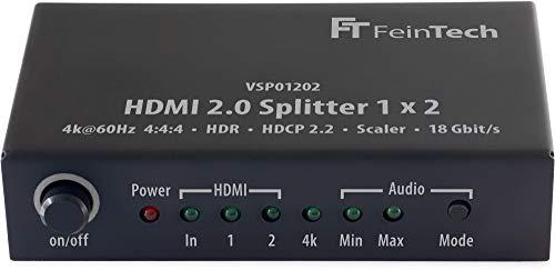 FeinTech VSP01202 HDMI 2.0 Splitter 1x2 mit 4K HDR Down-Scaler Audio-EDID Schwarz -