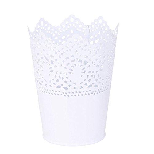 Homyl Vintage Multifunktions Organizer Becher Behälter für Stifte/Pinsel/Makeup, Dekoravie Metall Vase - Weiß