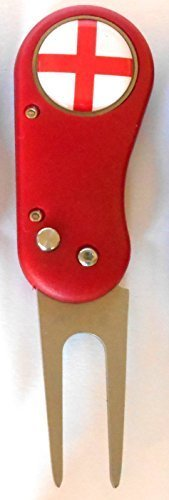 Flix Lite Golf Divot Repair Tool & Magnetic Ball Marker-England with free Sherpashaw Tees