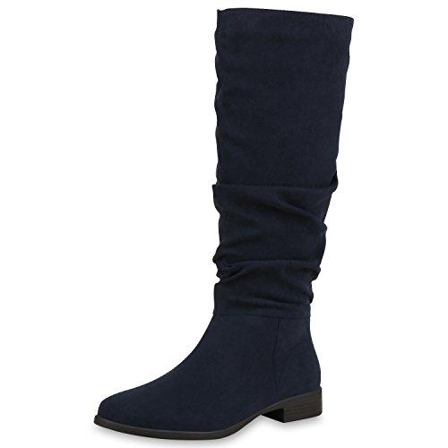 SCARPE VITA Klassische Damen Stiefel Veloursleder-Optik Boots Freizeit Schuhe 168587 Dunkelblau 40