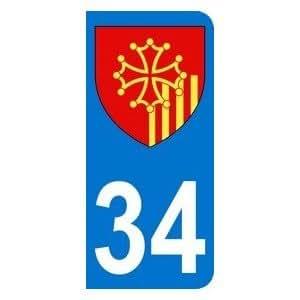 Autocollant 34 avec blason Languedoc-Roussillon plaque immatriculation Moto (6,3 x 2,9 cm)