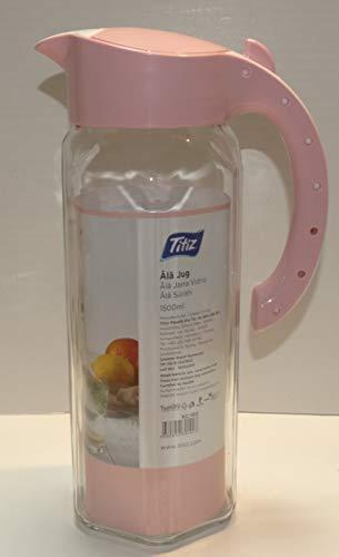 AMA-Feinkost Wasserkaraffe 1,5 Liter aus Glas Saftkrug, Wasserkrug, Eistee, Krug für Garten (Rosa)