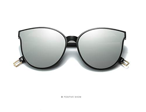 WSKPE Sonnenbrille,Fashion Color Flat Top Cat Eye Frauen Sonnenbrille Elegante Männer Übergrosse Sonnenbrille Uv400 Black Frame Lens