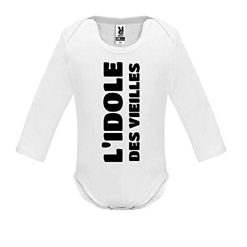 LookMyKase Body bébé - Manche Longue - L Idole des Vieilles - Bébé Garçon - Blanc - 12MOIS