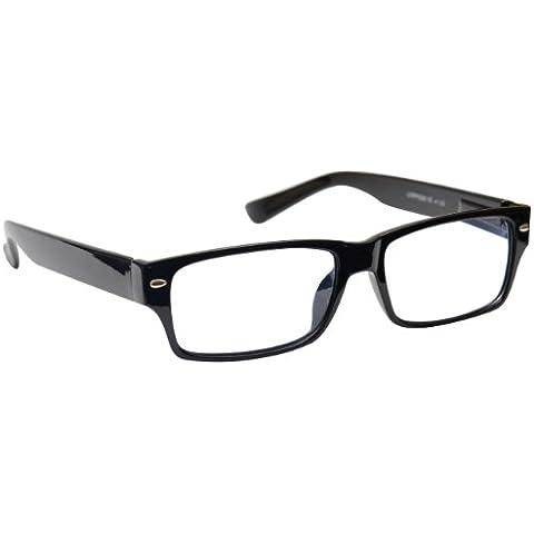 Reading Glasses +1.50 Strength Mens Womens Unisex Wayfarer Style Black UV Reader UVR006 Inc Case