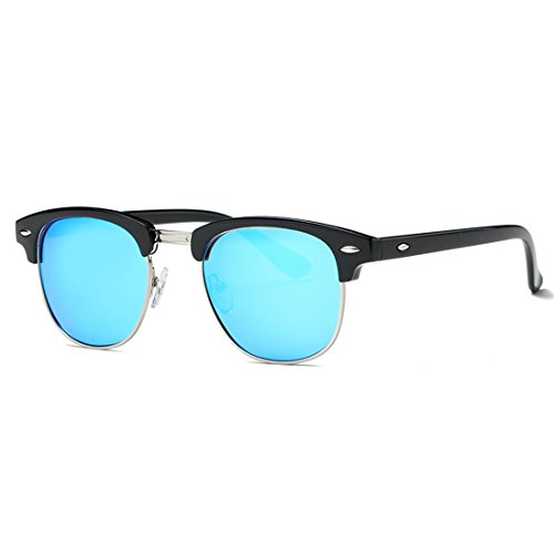Kimorn polarizzate occhiali da sole unisex retro semi-rimless telaio occhiali classici ae0550 (nero&blu, 52)