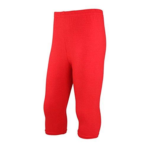 Rote Mädchen-caprihosen (TupTam Mädchen Leggings 3/4 Capri Blickdicht, Farbe: Rot, Größe: 146)