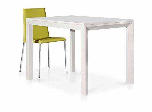 InHouse srls Tables Blanc Pore Ouvert 1 rallonge da 50 cm, Style Moderne, en MDF laminé Structure en Aluminium - Dim. 130 x 85 x 75