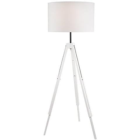 Moderne Steh-Lampe Steh-Leuchte E27 (Farbe: Weiss) Stativ Modern Wohnzimmer Vintagelampe