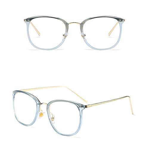 Gold Runde Vintage Brillengestell, Ultraleichte Klare Brillen. Accessoires (Farbe : Clear/Blue)