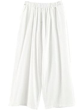 CTOOO Color Puro Pantalones Flojos De Algodón Y Lino Vintage Para Mujer