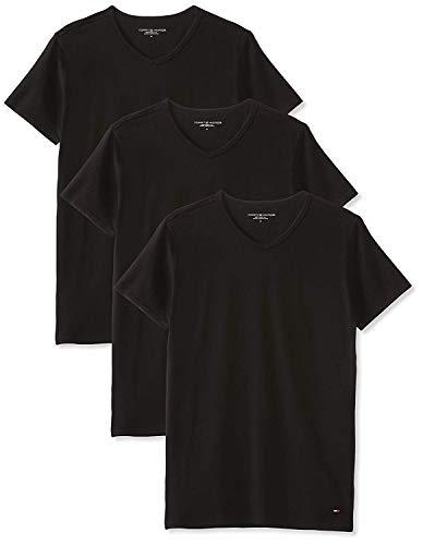 Tommy hilfiger - stretch v neck 3 pack premium ess, canotta uomo, black 990, medium