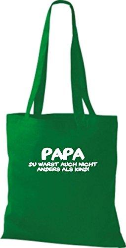 Shirtstown Stoffbeutel Papa du warst auch nicht anders als Kind, Fun kult Baumwolltasche Beutel Shopper Umhängetasche viele Farben kelly