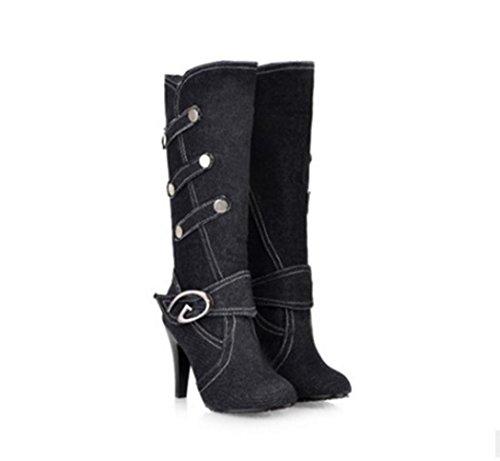 WYWQ Fine High-Heeled Mid-Calf Donna Donna Cavaliere Stivali Fibbia della cintura Autunno e Inverno Stiletto Nuovi stivali alti in denim black