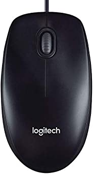 Logitech M90 Wired USB Mouse, 1000 DPI Optical Tracking, Ambidextrous PC/Mac/Laptop - Black