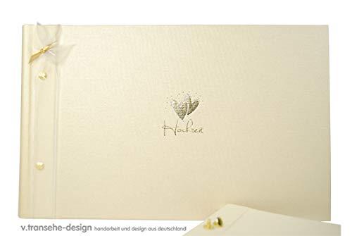 Großes XXL Hochzeits-Gästebuch/Foto-Mappe mit Herz in Creme-Farben & Gold - Hochzeits-Deko/Zubehör Hochzeit/Hochzeits-Fotos/Bilder-Mappe Heirat/Gäste-Buch Hochzeit