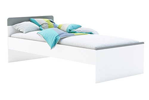 Jugendbett 90*200 cm weiß / grau Kinderbett Jugendliege Bettliege Bett Bettgestell Holz Gästebett Studenten Jugendzimmer Kinderzimmer