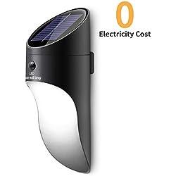 Neporal Lámparas solares LED 2 Brillo Montado en la pared Sensor de movimiento Luz al aire libre Inalámbrico Impermeable Apliques de Pared de porche para jardín Patio Garaje Escalera y patio