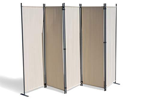 GRASEKAMP Qualität seit 1972 Paravent 5 teilig Beige 268 x 167 cm Raumteiler Trennwand Sichtschutz