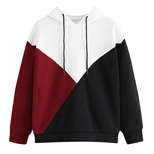 SamMoSon_Femme Sweat Shirt Hooded Sports Femme Automne Tops à Manches Longues Dames Hiver Rayé Sweat-Shirt Coton Sweats à Capuche Blouson Col Rond Casual Pull Elegant Chemisier Streetwear
