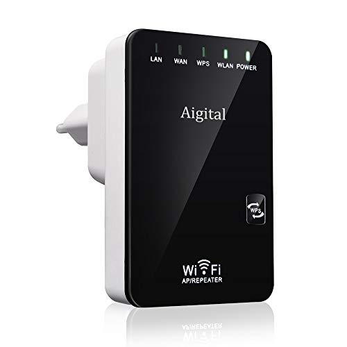 Aigital WiFi Répéteur, Extenseur sans Fil 300M Mini-Routeur Internet sans Fil/Amplificateur de Signal du Point d'accès (AP), Supporte la Norme WiFi-N, 2.4GHz et Bouton WPS