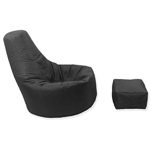 Großes Gaming Sitzsack Innen und Außenbereich Garten Lounge Gamer Stuhl mit passende Fusshocker in schwarz hochwertiges Wasserabweisendes Material - 2