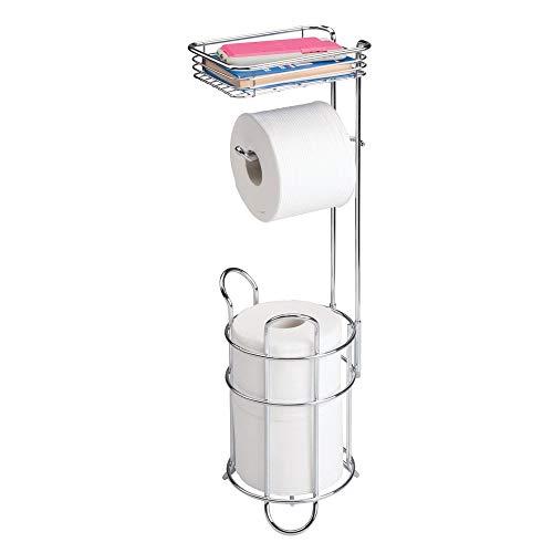 mDesign Toilettenpapierhalter - eleganter Papierrollenhalter aus Metall - WC-Rollen-Halter mit Regal - praktische Aufbewahrung fürs Badezimmer - silber