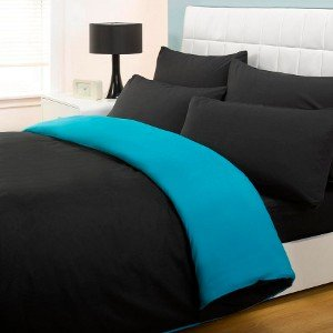 6PC COMPLETE REVERSIBLE BLACK / TEAL DOUBLE DUVET COVER & FITTED SHEET BED SET by Viceroybedding - inexpensive UK light store.