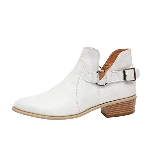 Dorical Damen Kurzschaft Slip On Stiefel/Frauen Damen Stiefeletten Chelsea Boots Übergrößen Flandell/Damenstiefel Outdoor Boots mit Blockabsatz Gr 35-43(Weiß,37 EU)